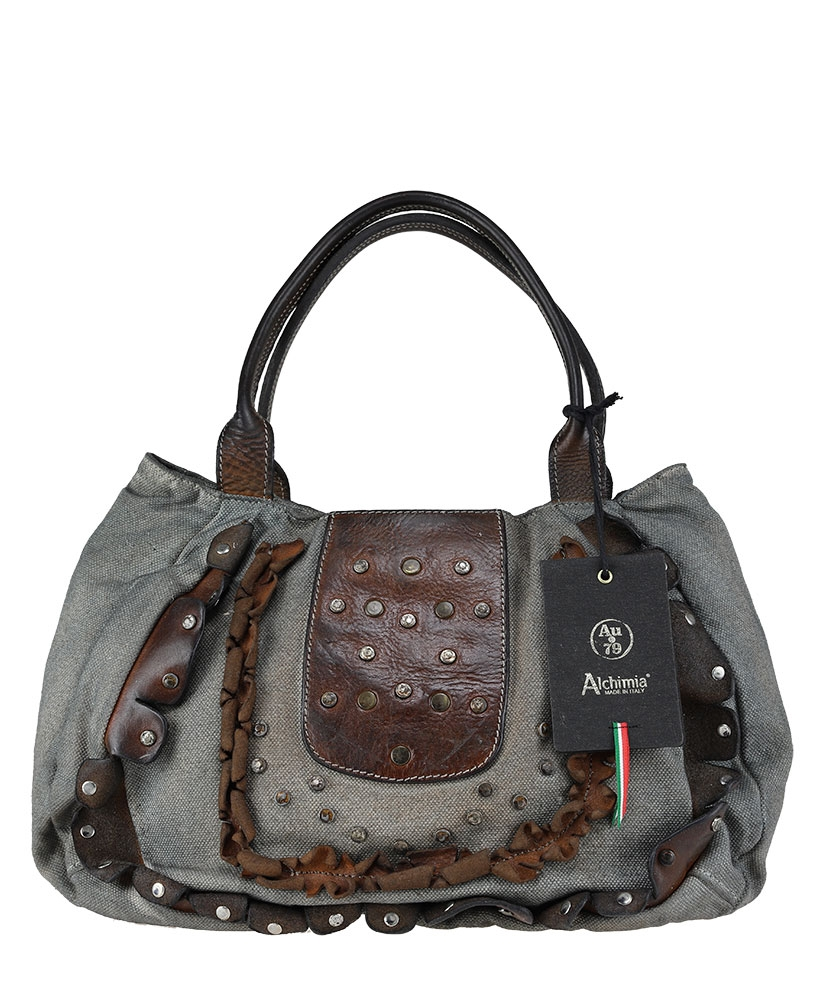 CANVAS - Handbag in leather and fabric