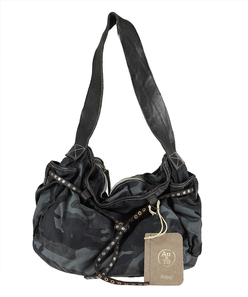 Shoulder bag with nylon and leather