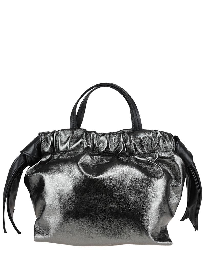 Handbag in laminated nappa leather