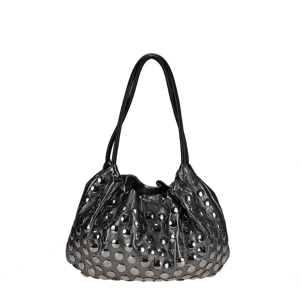 Shoulder bag in laminated nappa leather with studs
