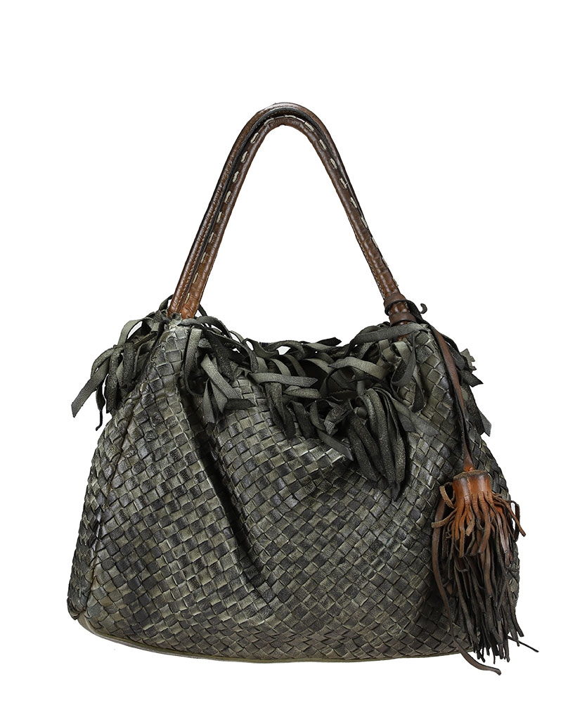Braided shoulder bag in dyed leather - AU79 Bags