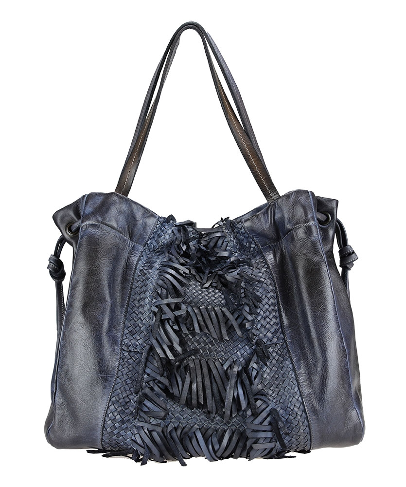 Braided shoulder bag in dyed leather