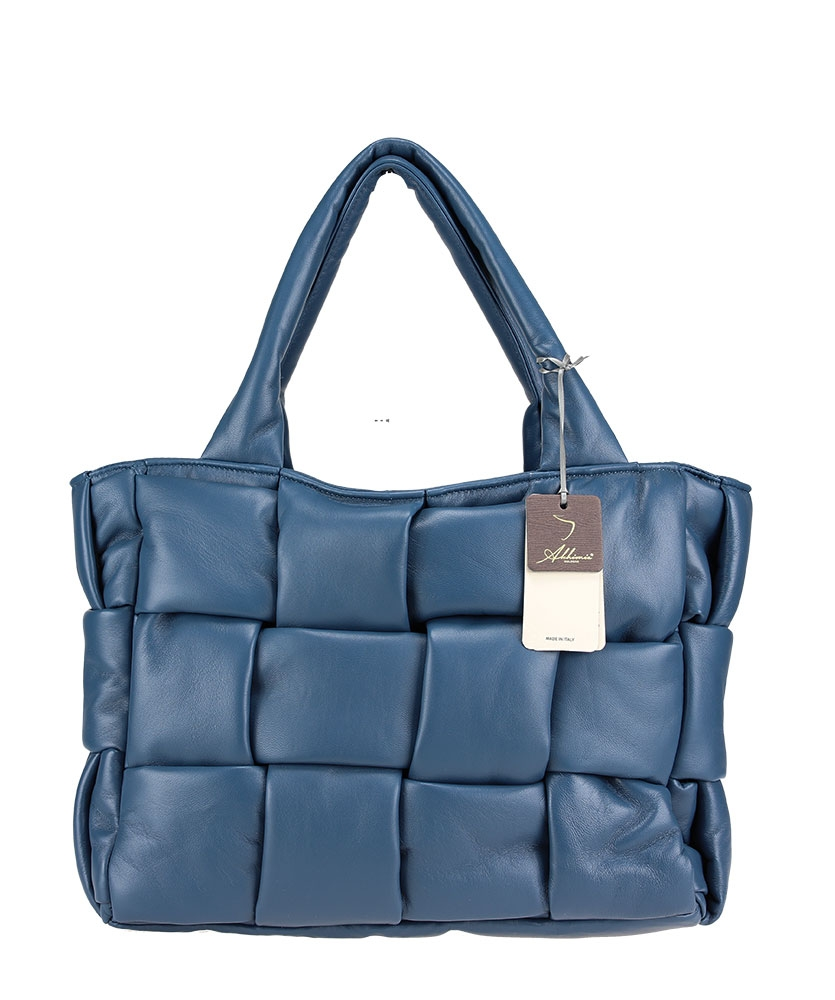 Handbag in woven padded nappa leather